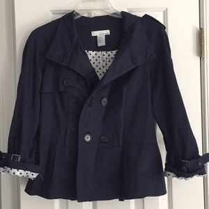 Lucy & Laurel Navy 3/4 Sleeve Blazer